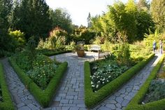 Amazing geometry of the Potager on the grounds of Heronswood Nursery's gardens on the Olympic Peninsula in Washington. Gardens Of The World, Olympic Peninsula, Autumn Day, Stepping Stones, Geometry, Washington, Sidewalk, Home And Garden, Nursery