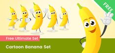 A free Cartoon banana character made in 6 different poses. These cartoons are made of vector shapes, so you can easily modify them to fit your designs. Cartoon Banana, Free Vector Clipart, Free Cartoons, Vector Shapes, Free Images, Your Design, Vector Characters, Character Design, Clip Art