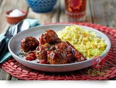 Moroccan Beef and Coriander Meatballs with Yellow Rice