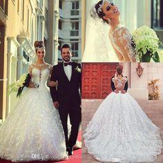 tripulação decote vestido de baile vestidos brancos modernos pura casamento com mangas compridas judiciais sem encosto trem peles applique vestidos de noiva