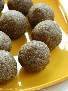 Indian Cuisine: Ragi Flour and Peanut Laddu Recipe Dessert Recipes For Kids, Indian Dessert Recipes, Indian Sweets, Indian Snacks, Sweets Recipes, Snack Recipes, Cooking Recipes, Flour Recipes, Brunch Recipes