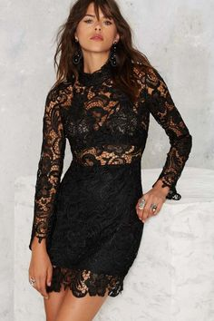 Right Lace Right Time Mock Neck Dress | Shop Clothes at Nasty Gal!