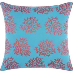 "Mina Victory Indoor/Outdoor Corals Turquoise/Coral Throw Pillow (18-inch x 18-inch) by Nourison (18"" x 18""), Blue, Size 18 x 18 (Acrylic, Coastal)"