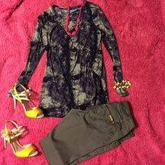 """Price Drop! Vera Wang """"shades of purple"""" top Long sleeved. Beautiful pattern of deep purples and white. Machine wash. This is a longer shirt which I can appreciate. Very soft and comfortable. Simply Vera Vera Wang Tops Blouses"""