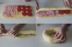 JULIA Y SUS RECETAS: Corona rellena de 4 quesos, salami y jamón cocido