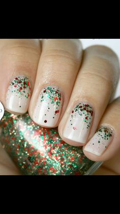 Red and green glitter Nails