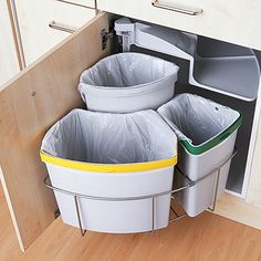 This Is the Smartest Trash Can Cabinet We& Ever Seen — Small Space Solut. This Is the Smartest Trash Can Cabinet We& Ever Seen — Small Space Solutions Smart Kitchen, Kitchen Ikea, Clever Kitchen Storage, Kitchen Organization, Kitchen Interior, New Kitchen, Kitchen Decor, Kitchen Small, Kitchen Bins