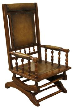 Yew Wood U0026 Leather Upholstered Rocking Chair U2013 Hunwick Interiors Antique  Furniture