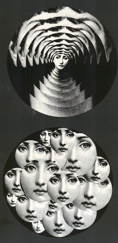 """Piero Fornasetti - Designer - Plates 172 (top) and 165 (bottom) - """"Theme and Variations"""" series Illustrations, Illustration Art, Les Sopranos, Piero Fornasetti, Fornasetti Wallpaper, Etsy Vintage, Stencils, Italian Painters, Art Academy"""