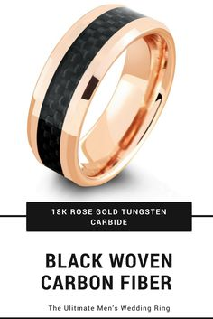 Mens 18k rose gold tungsten wedding ring with a black woven carbon fiber inlay. This makes one unique mens wedding ring.