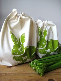 @ohlittlerabbit 's bunderful screen printed reusable organic cotton rabbit produce bags!