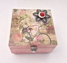 Wood Decoupaged Keepsake, Jewelry, Trinket Box, Victorian Inspired, Mixed Media