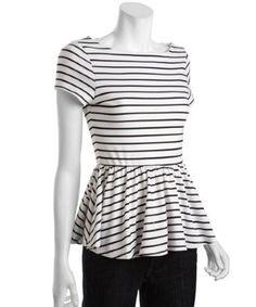 Wyatt white and black striped stretch short sleeve peplum top | BLUEFLY up to 70% off designer brands at bluefly.com