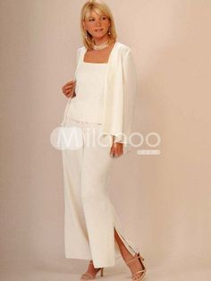 Elegant Champagne Chiffon Mother Of The Bride Pant Suits $95.99...I can see my future Mother-In-Law wearing something like this.