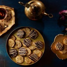 Flourless Almond Cookies with Cardamom, Orange Zest, and Pistachios / Photo by Chelsea Kyle, Prop Styling by Alex Brannian, Food Styling by Anna Hampton Passover Desserts, Passover Recipes, Gluten Free Desserts, Jewish Recipes, Fall Desserts, Healthy Desserts, Persian Desserts, Persian Recipes, Cookie Recipes