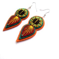INDIE EARRINGS  Felt and hand embroidery by designedbyjane on Etsy, £10.00