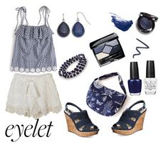 """""""Navy Eyelet"""" by siriusfunbysheila1954 ❤ liked on Polyvore featuring J.Crew, American Rag Cie, Kim Rogers, Chaps, OPI, By Terry, Christian Dior, Burberry and Christina Choi Cosmetics"""