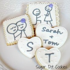 Sugar Dot Cookies: Engagment Sugar Cookies with Royal Icing Glaze