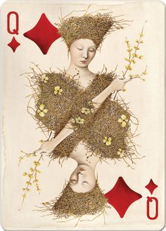 "Uusi's ""Pagan"" playing card deck. Queen of Diamonds. x"