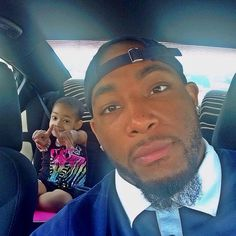 """Devon Still shares photos with his daughter Leah-man_of_still75: """"Riding around trying to find all the things I promised to buy her at the doctors today to get her to stop crying..it's amazing all the things you will tell a child you will get them in the mist of distress and she remembers them all lol"""""""