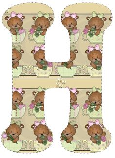 CH.B *✿* De Katia Artes Alfabeto Animal, Unfinished Business, Letters And Numbers, My Music, Teddy Bear, Learning, Language, Alphabet Letters, Fonts