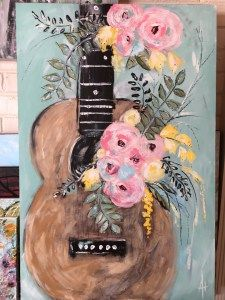 Studio Session 1: Whimsical Guitar Cute Canvas Paintings, Small Canvas Art, Easy Canvas Painting, Simple Acrylic Paintings, Diy Canvas Art, Diy Painting, Cute Easy Paintings, Painting Styles, Summer Painting