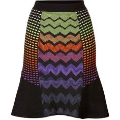 M MISSONI Zigzag Knit Flared Skirt found on Polyvore