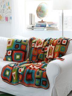 Bright Squares Blanket and Pillow   Yarn   Free Knitting Patterns   Crochet Patterns   Yarnspirations