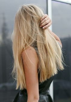 Long hair, blunt + angled.