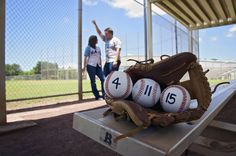 save the date Baseball theme for wedding during an engagement photography.