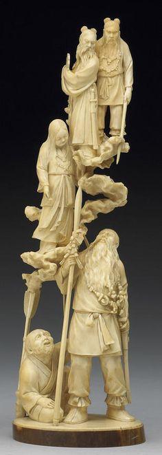 An ivory okimono figural group Meiji Period, Signed Shunshi