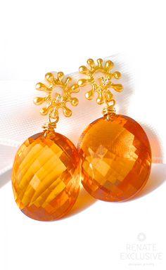 "Luxe Orange Citrine Earrings ""Fall"" - Handmade Jewelry - Renate Exclusive - 1"