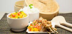 Saté met mangosalsa en rijst