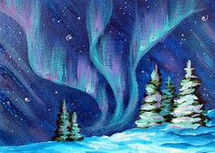 Northern Lights Paintings - Aurora Borealis by Marion Bradish