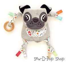 Baby Pug Toy, Plush Pug Security Blanket Lovey Baby Blanket ****Introducing Mini Baby Pop Pacifier On the Go Toy Buddies :) *** Handmade with Love to perfection and made of high quality minky soft fabric materials. ♥Each friend is hand crafted and designed by me. This is a grey pug baby pacifier/organic ring clip toy handmade by me, made of very soft minky fabric with batting (padding) inside. Really soft and cuddly made for babies or toddlers. The belly, arms, and legs have a cute fire…