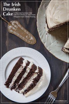 Irish Drunken Cake, a chocolate Guinness cake with Irish whiskey and Irish Cream Whipped Cream Cheese Frosting