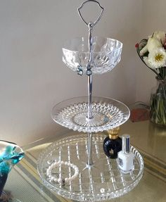 Vintage Three Tiered Pressed Glass Cake Stand Jewellery Stand Wedding Centrepiece by DeliciousDesignsbyRE on Etsy