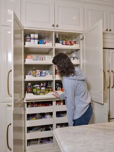Love these great examples of kitchen s featuring pantry (s) in the cabinet (s). They're SO well done! | Design -er: DESIGNED w/ Carla Aston Wall Pantry, Pantry Cupboard, Kitchen Pantry Cabinets, Small Pantry Cabinet, Kitchen Cabinets Design, Timeless Kitchen Cabinets, Small Pantry Closet, Kitchens Without Upper Cabinets, Kitchen Designs