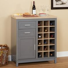 Simple Living Kennedy Grey MDF Wine Cabinet With Open Rack - 18715936 - Overstock - Big Discounts on Simple Living Buffets - Mobile