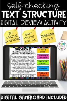 Your students will enjoy reviewing non fiction text structure with this digital center! This no prep, self checking interactive game is perfect to use during whole group, small group and distance learning times. Includes 30 example passages for students to review text structure! Covers Cause