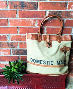 'Domestic Mail' Recycled Canvas Tote Bag