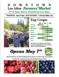Mark your calendars for May-September, 4-8pm, Los Altos Farmers' Market will be open!