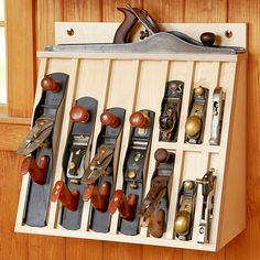 Hand-plane Rack Woodworking Plan. This is what I need in the wall hanging tool cabinet I bought!