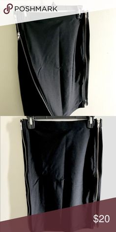 """Midi Skirt Cute midi skirt with zippers! It's very stretchy material, comfy and soft ! Worn only once! Great condition ! Length: 21"""", waist: 14"""" Forever 21 Skirts Midi"""