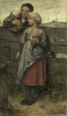 Villagers, 1872, by Jacob Maris, Dutch painter. The mother behind the fence, holding the baby, and I'm guessing, the older sister knitting a little striped sock for the baby.