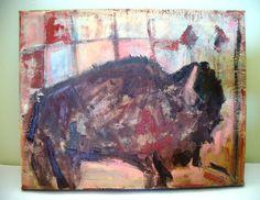 Southwestern Art Buffalo Painting Montana Wyoming by kzannoart, $110.00 #southwestern home