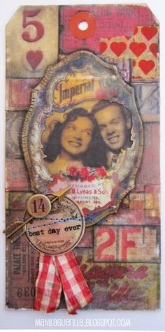 Beulah Bee: Best Day Ever - Tim Holtz - great Valentine tag! Naughty Valentines, Valentines Art, Paper Craft Making, Mixed Media Scrapbooking, Love Tag, Handmade Tags, Paper Tags, Artist Trading Cards, Vintage Tags