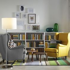 Browse our living room design ideas to help you get inspired. Our living room design gallery highlights inspirational living rooms in a variety of styles featuring IKEA products. Ikea Living Room, Living Room Furniture, Living Spaces, Dining Room, Armchair Living Room, Living Room Yellow, Ikea Armchair, Modern Armchair, Kid Spaces