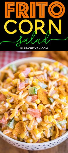 Frito Corn Salad - packed full of great flavor! We could not stop eating it! Corn, bell peppers, onion, cheese tossed in mayonnaise, lime juice, vinegar and Chili Cheese Fritos. Great as a side dish or an appetizer. Can make ahead and refrigerate until ready to serve. Everyone LOVES this easy side dish. I never have any leftovers!