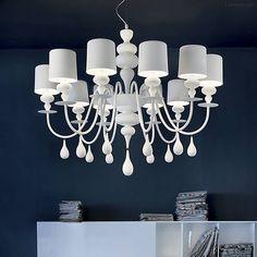Eight Light Large Designer Chandelier Pendant Light for Living Room Lantern Chandelier, Chandelier Shades, Lantern Pendant, Chandelier Lighting, Pendant Lamp, Chandeliers, White Chandelier, Light Pendant, Modern Lighting
